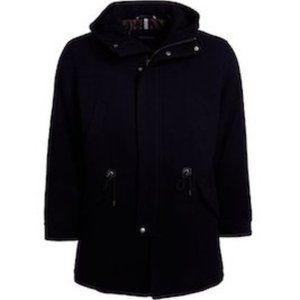 Cole Haan Men's Navy Wool Funnel Collar Coat